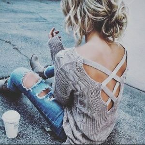 Sweaters - Beautiful cross cross back cable knit sweater